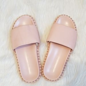 Zara Shoes - NWOT Zara Studded Pink Slides